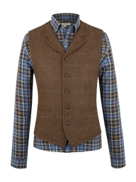 Rust check waistcoat with collar- currently unavailable