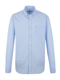 Pale Blue Gingham Long Sleeve Shirt