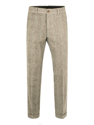 TAUPE WITH BURGUNDY CHECK TROUSER WITH TURN UPS- currently unavailable
