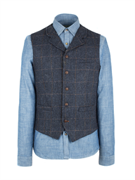 Navy Herringbone Check Vest- currently unavailable