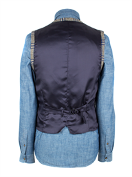Taupe Waistcoat With Bold Blue Check