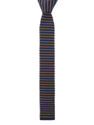 Navy Camel Stripe Knitted Tie