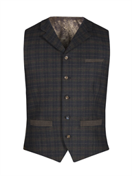 Green and Red Soft Check Waistcoat