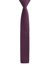 Burgundy honeycomb textured knitted tie