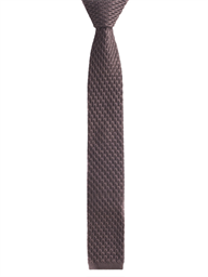 Brown honeycomb textured knitted tie