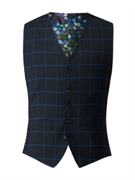 Navy Waistcoat With Blue Check