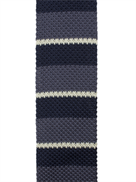 Grey and Blue Striped Knitted Tie- currently unavailable