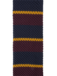 Navy and Burgundy Striped Knitted Tie- currently unavailable