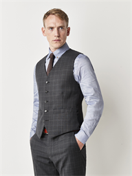 Gibson Grey Checked Slim Fit Waistcoat