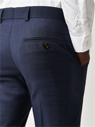 Navy Blue Checked Tailored Fit Trousers