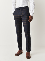 Mayfair Navy and Coffee Check Slim Fit Trousers