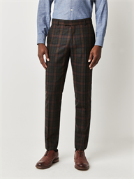 Oxford Marquee Green Tartan Check Slim Fit Trousers