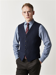 Gibson Navy Textured Slim Fit Waistcoat