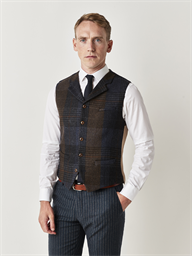 Stephenson Blue & Brown Checked Slim Fit Waistcoat