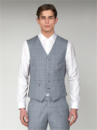 Gibson Dover Blue Checked Slim Fit Waistcoat