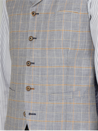 Fiennes Pale Blue Linen Checked Slim Fit Waistcoat