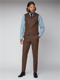 Gibson Tan, Teal and Orange Check Waistcoat
