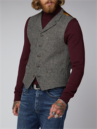 Charcoal and Ecru Herringbone Waistcoat