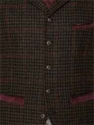 Deeley Brown Dogtooth with Red Check Waistcoat