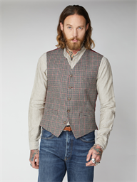 Mason Fawn Black and Red Check Waistcoat