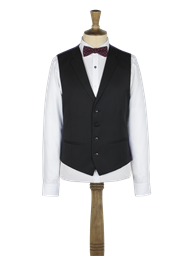 Black Twill notch lapel vest with back strap and buckle- currently unavailable