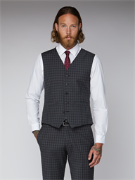 Essentials Grey Check Tailor Fit Lambeth Waistcoat
