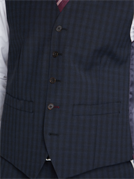 Gibson Essentials Blue Checked Tailored Fit Lambeth Waistcoat